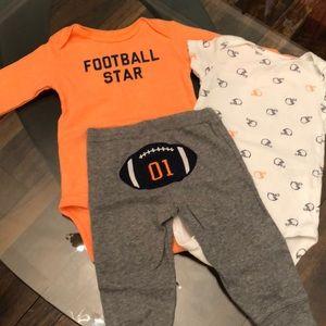 3 Piece Carter's Football Bundle 9 Month Boy